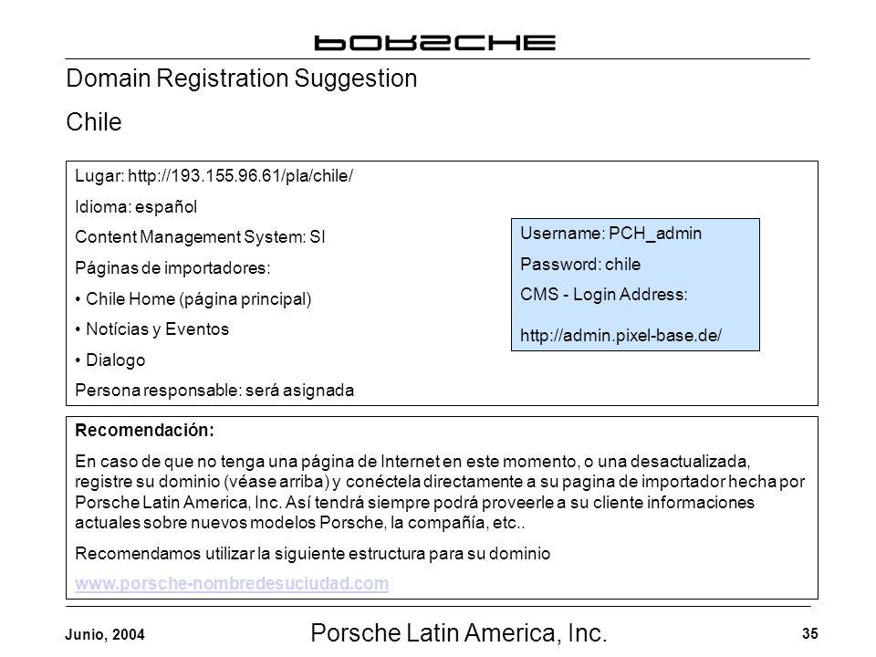Porsche Latin America, Inc. 35 Junio, 2004 Domain Registration Suggestion Chile Username: PCH_admin Password: chile CMS - Login Address: http://admin.