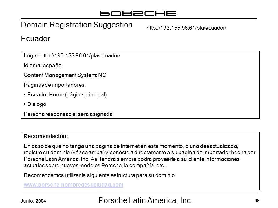 Porsche Latin America, Inc. 39 Junio, 2004 Domain Registration Suggestion Ecuador Recomendación: En caso de que no tenga una pagina de Internet en est
