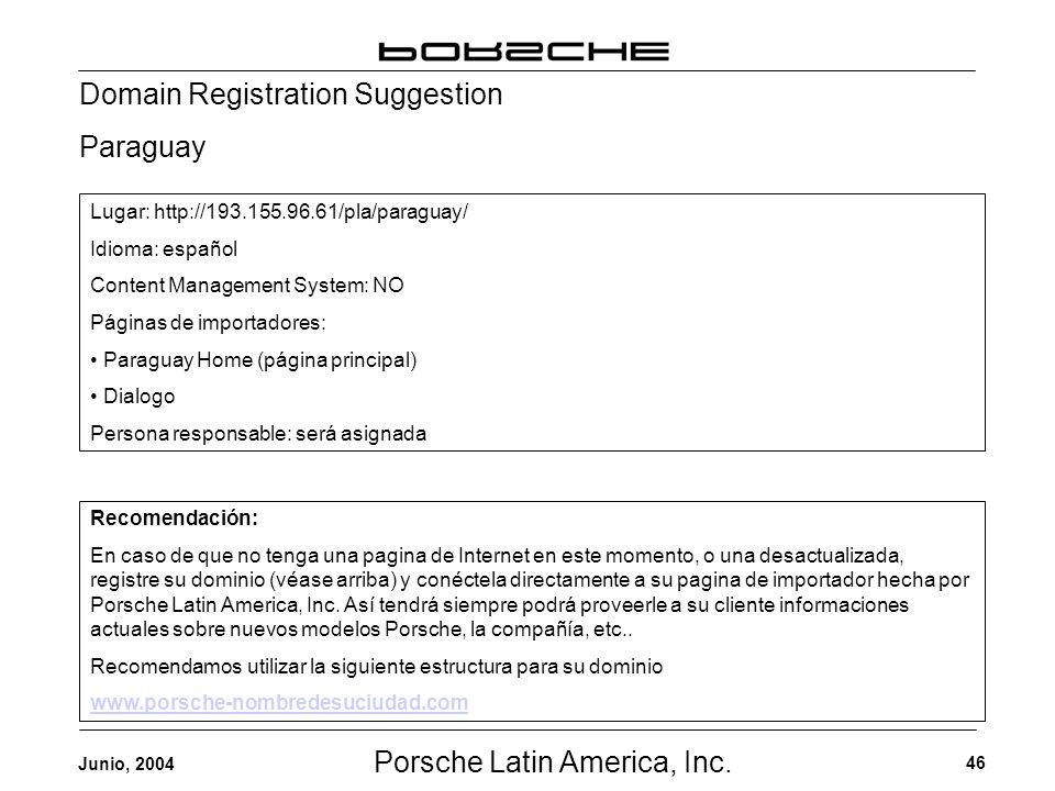 Porsche Latin America, Inc. 46 Junio, 2004 Domain Registration Suggestion Paraguay Recomendación: En caso de que no tenga una pagina de Internet en es