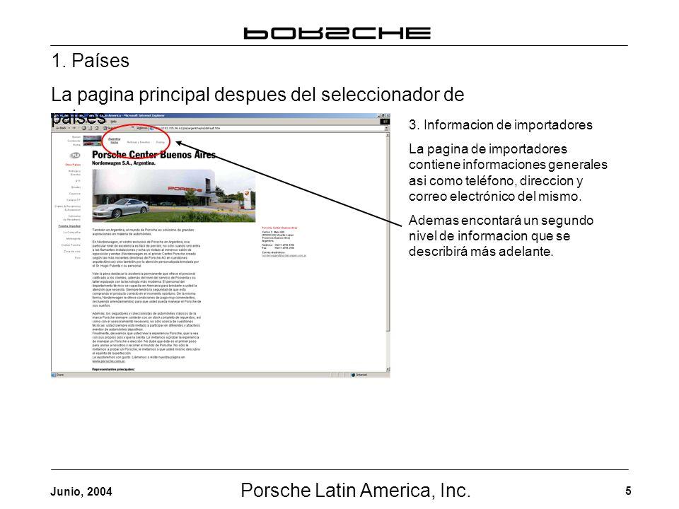 Porsche Latin America, Inc. 5 Junio, 2004 3. Informacion de importadores La pagina de importadores contiene informaciones generales asi como teléfono,