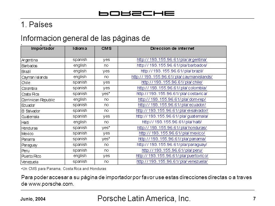 Porsche Latin America, Inc. 7 Junio, 2004 1. Países Informacion general de las páginas de importadores Un CMS para Panama, Costa Rica and Honduras Par