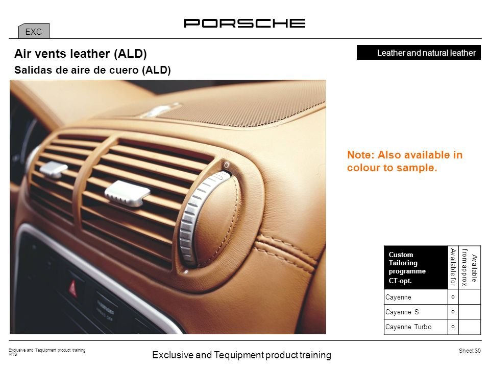 Exclusive and Tequipment product training VRS Sheet 30 EXC Leather and natural leather Custom Tailoring programme CT-opt. Available for Available from