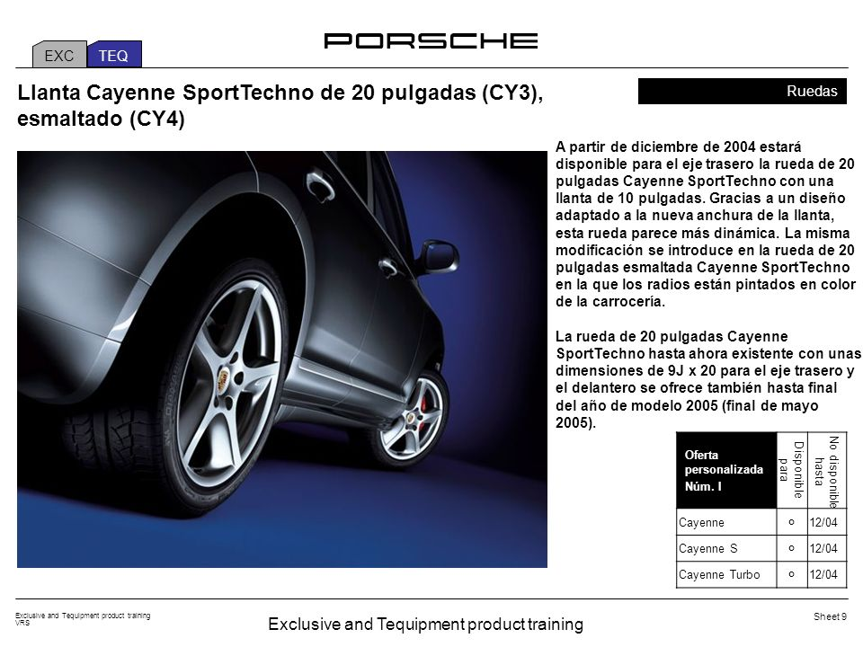 Exclusive and Tequipment product training VRS Sheet 10 2.5 The Exclusive/Custom Tailoring programme for the Cayenne Personalization and Cayenne.