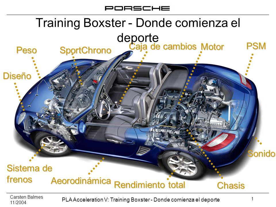 Carsten Balmes 11/2004 PLA Acceleration V: Training Boxster - Donde comienza el deporte 32 Más ancho, más preciso, más directo y completamente reajustado En base al concepto de prueba, se han mejorado casi todos los componentes.