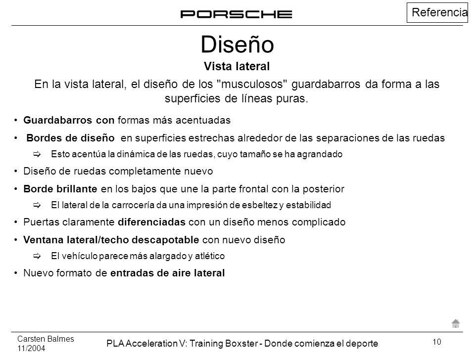 Carsten Balmes 11/2004 PLA Acceleration V: Training Boxster - Donde comienza el deporte 10 Referencia Guardabarros con formas más acentuadas Bordes de