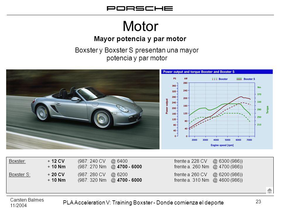 Carsten Balmes 11/2004 PLA Acceleration V: Training Boxster - Donde comienza el deporte 23 Mayor potencia y par motor Boxster y Boxster S presentan un