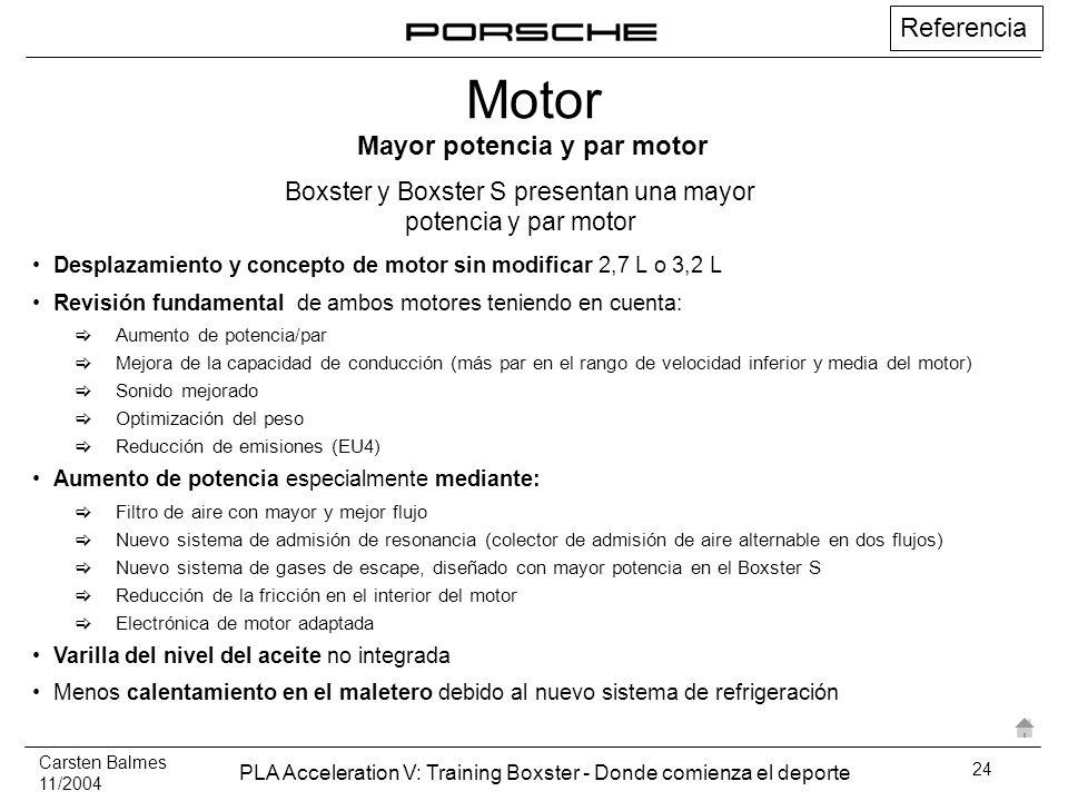 Carsten Balmes 11/2004 PLA Acceleration V: Training Boxster - Donde comienza el deporte 24 Referencia Desplazamiento y concepto de motor sin modificar