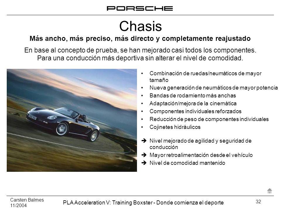Carsten Balmes 11/2004 PLA Acceleration V: Training Boxster - Donde comienza el deporte 32 Más ancho, más preciso, más directo y completamente reajust