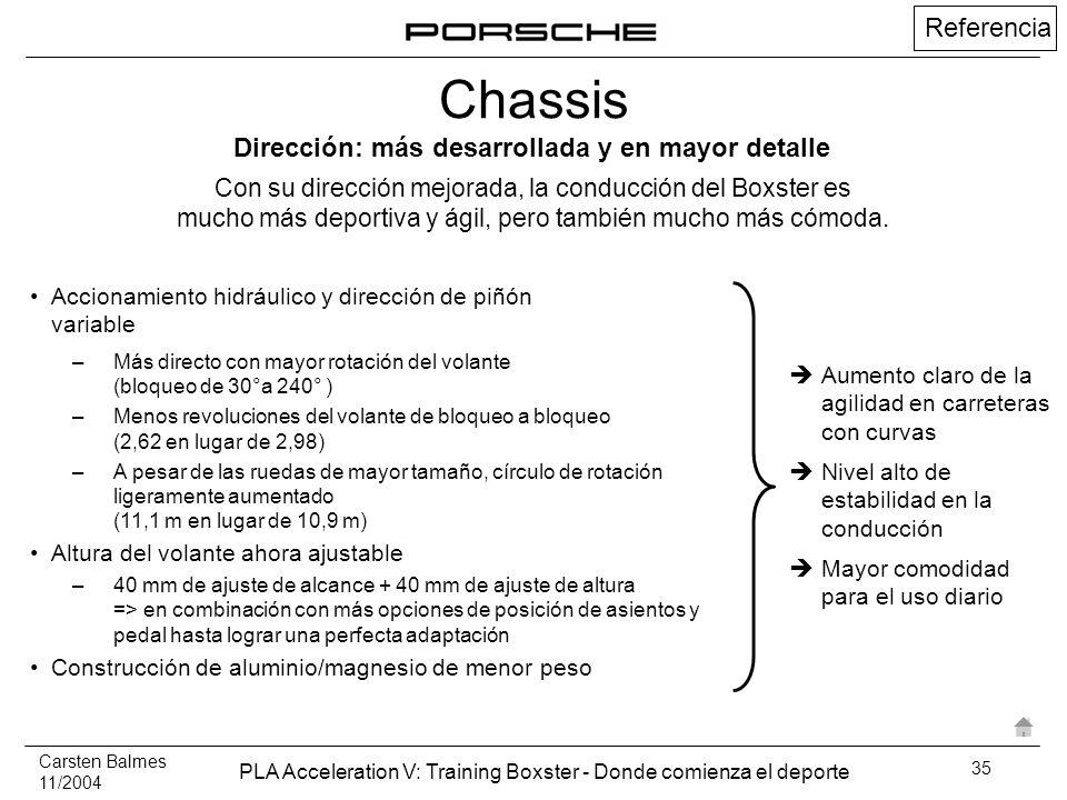 Carsten Balmes 11/2004 PLA Acceleration V: Training Boxster - Donde comienza el deporte 35 Referencia Accionamiento hidráulico y dirección de piñón va