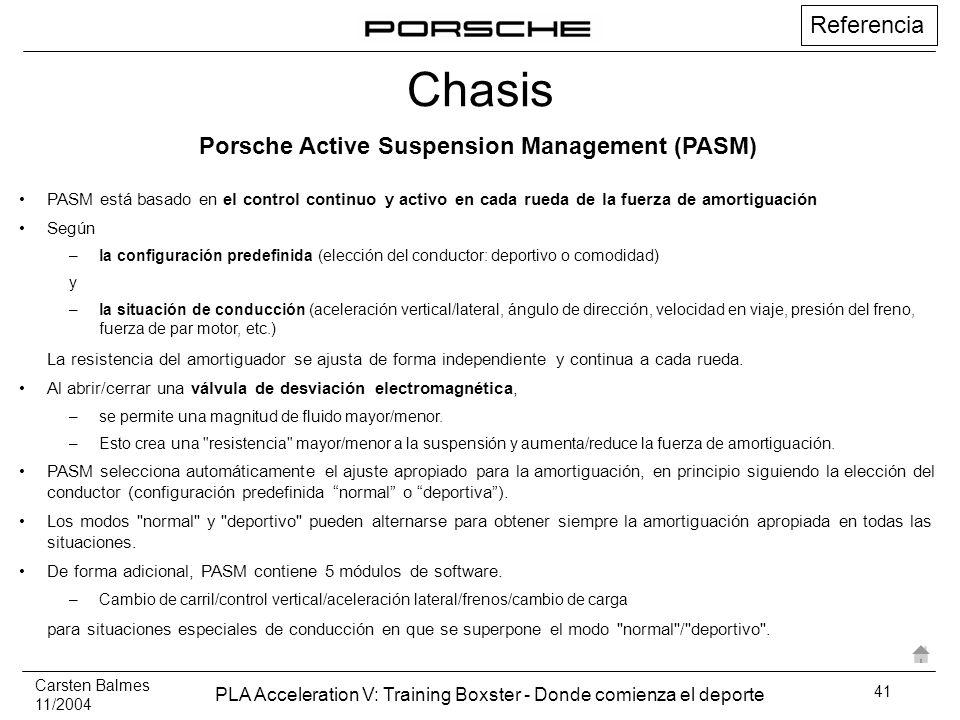 Carsten Balmes 11/2004 PLA Acceleration V: Training Boxster - Donde comienza el deporte 41 PASM está basado en el control continuo y activo en cada ru