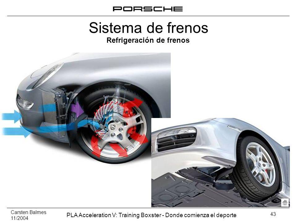Carsten Balmes 11/2004 PLA Acceleration V: Training Boxster - Donde comienza el deporte 43 Refrigeración de frenos Sistema de frenos
