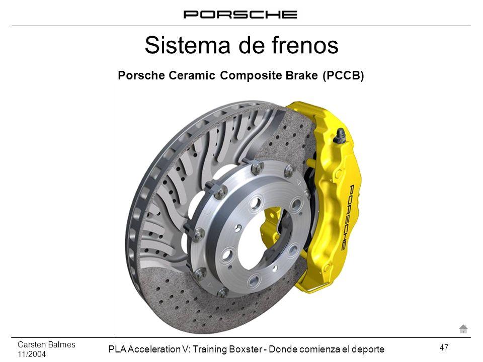 Carsten Balmes 11/2004 PLA Acceleration V: Training Boxster - Donde comienza el deporte 47 Porsche Ceramic Composite Brake (PCCB) Sistema de frenos