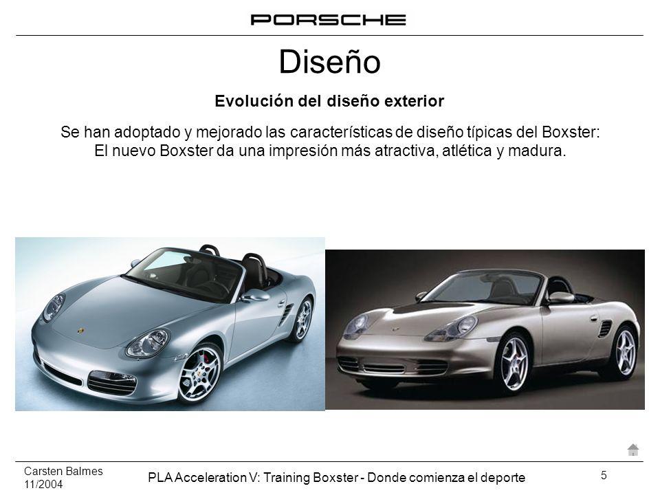 Carsten Balmes 11/2004 PLA Acceleration V: Training Boxster - Donde comienza el deporte 6 A primera vista, el nuevo vehículo puede reconocerse como un Porsche Boxster Se ha enriquecido el nuevo diseño interior para diferenciarlo claramente de su predecesor.