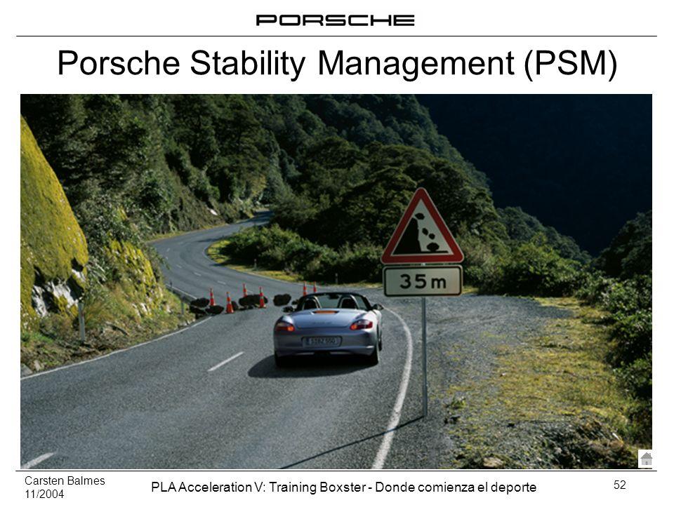 Carsten Balmes 11/2004 PLA Acceleration V: Training Boxster - Donde comienza el deporte 52 Porsche Stability Management (PSM)