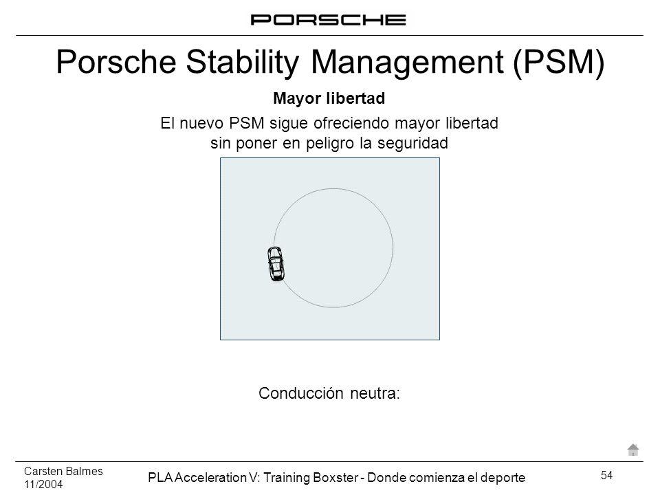 Carsten Balmes 11/2004 PLA Acceleration V: Training Boxster - Donde comienza el deporte 54 Conducción neutra: El nuevo PSM sigue ofreciendo mayor libe