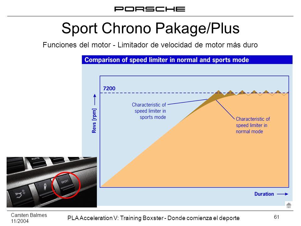 Carsten Balmes 11/2004 PLA Acceleration V: Training Boxster - Donde comienza el deporte 61 Funciones del motor - Limitador de velocidad de motor más d