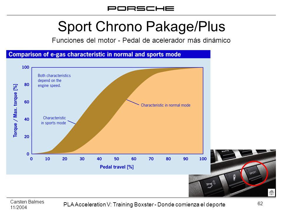 Carsten Balmes 11/2004 PLA Acceleration V: Training Boxster - Donde comienza el deporte 62 Funciones del motor - Pedal de acelerador más dinámico Spor