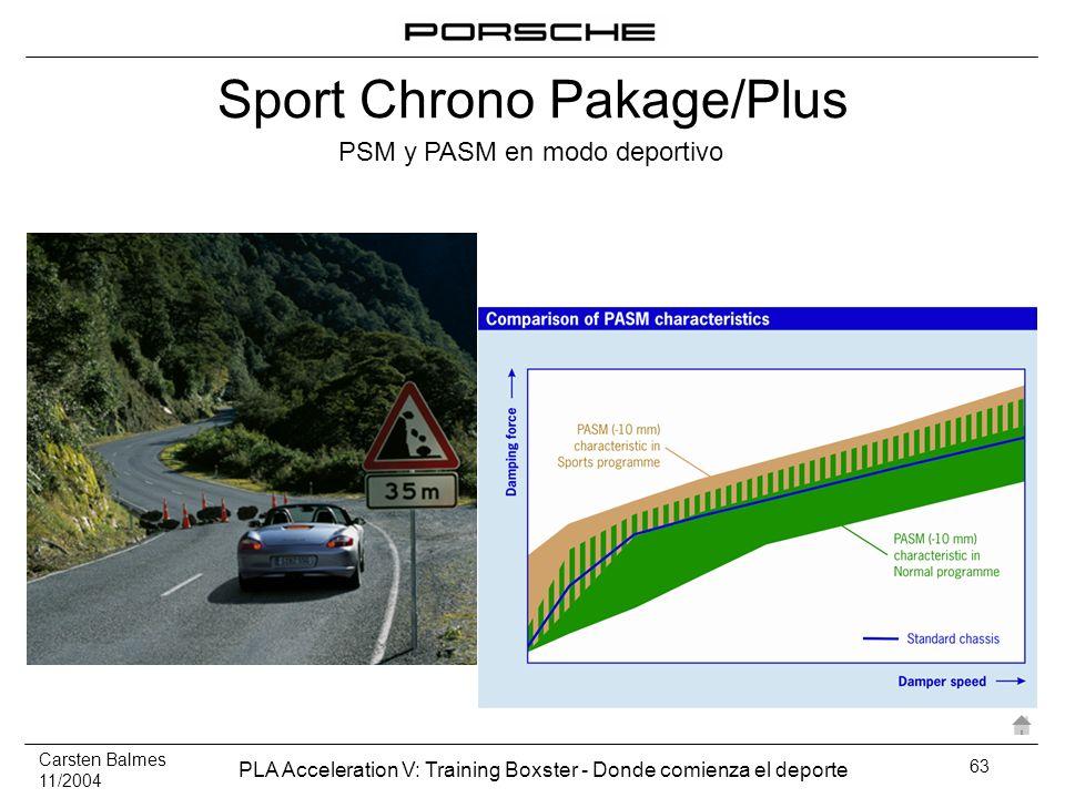 Carsten Balmes 11/2004 PLA Acceleration V: Training Boxster - Donde comienza el deporte 63 PSM y PASM en modo deportivo Sport Chrono Pakage/Plus