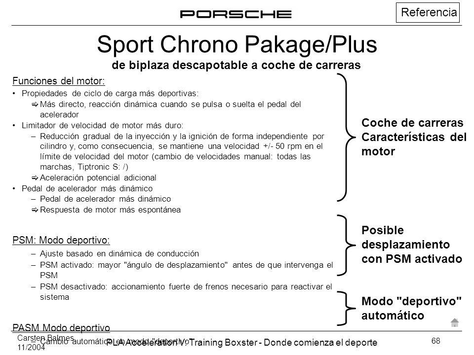 Carsten Balmes 11/2004 PLA Acceleration V: Training Boxster - Donde comienza el deporte 68 de biplaza descapotable a coche de carreras Funciones del m