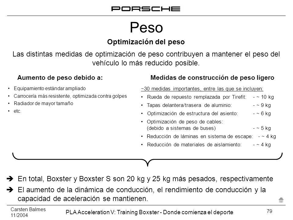 Carsten Balmes 11/2004 PLA Acceleration V: Training Boxster - Donde comienza el deporte 79 Optimización del peso Las distintas medidas de optimización