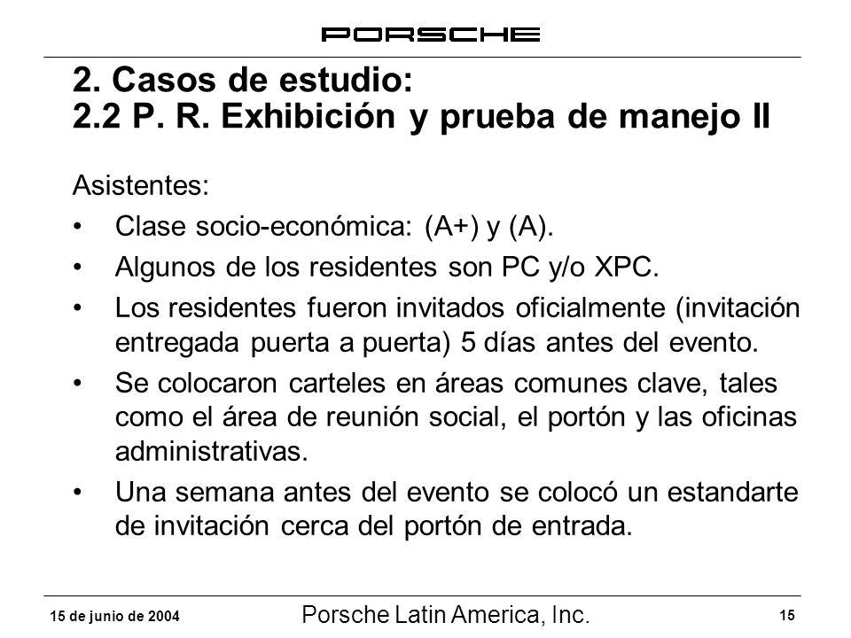 Porsche Latin America, Inc. 15 15 de junio de 2004 2. Casos de estudio: 2.2 P. R. Exhibición y prueba de manejo II Asistentes: Clase socio-económica: