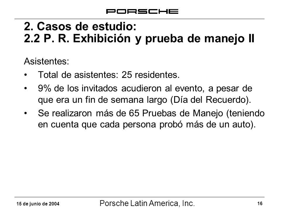 Porsche Latin America, Inc. 16 15 de junio de 2004 2. Casos de estudio: 2.2 P. R. Exhibición y prueba de manejo II Asistentes: Total de asistentes: 25