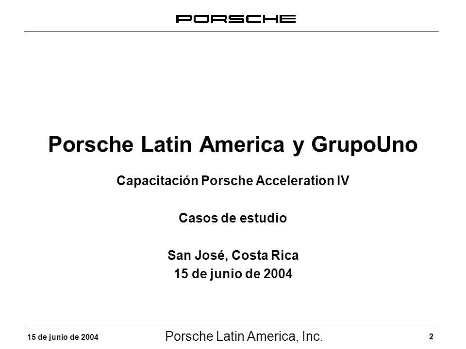Porsche Latin America, Inc. 2 15 de junio de 2004 Porsche Latin America y GrupoUno Capacitación Porsche Acceleration IV Casos de estudio San José, Cos
