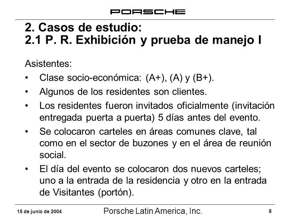 Porsche Latin America, Inc. 8 15 de junio de 2004 2. Casos de estudio: 2.1 P. R. Exhibición y prueba de manejo I Asistentes: Clase socio-económica: (A