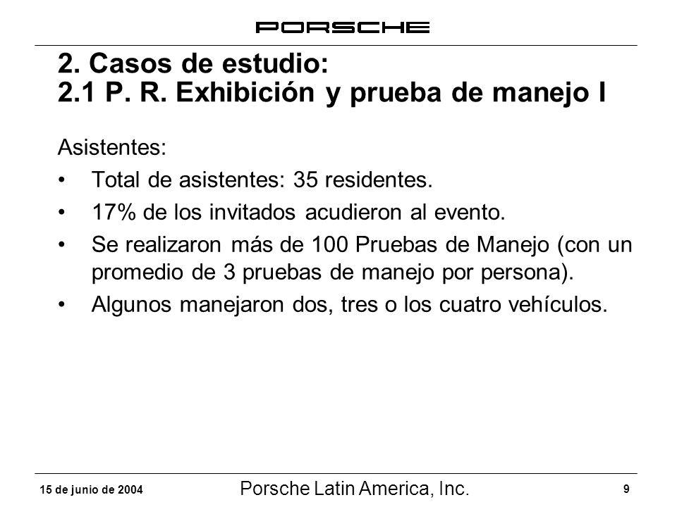Porsche Latin America, Inc. 9 15 de junio de 2004 2. Casos de estudio: 2.1 P. R. Exhibición y prueba de manejo I Asistentes: Total de asistentes: 35 r