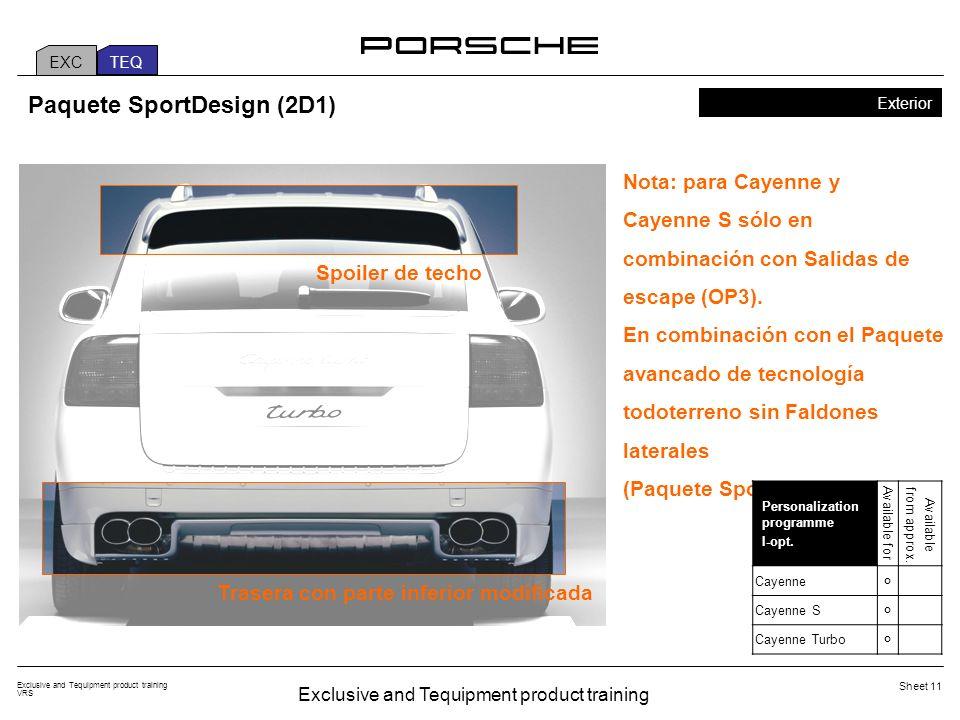 Exclusive and Tequipment product training VRS Sheet 11 Paquete SportDesign (2D1) Exterior Nota: para Cayenne y Cayenne S sólo en combinación con Salidas de escape (OP3).