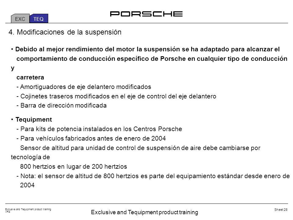 Exclusive and Tequipment product training VRS Sheet 28 Debido al mejor rendimiento del motor la suspensión se ha adaptado para alcanzar el comportamiento de conducción específico de Porsche en cualquier tipo de conducción y carretera - Amortiguadores de eje delantero modificados - Cojinetes traseros modificados en el eje de control del eje delantero - Barra de dirección modificada Tequipment - Para kits de potencia instalados en los Centros Porsche - Para vehículos fabricados antes de enero de 2004 Sensor de altitud para unidad de control de suspensión de aire debe cambiarse por tecnología de 800 hertzios en lugar de 200 hertzios - Nota: el sensor de altitud de 800 hertzios es parte del equipamiento estándar desde enero de 2004 4.