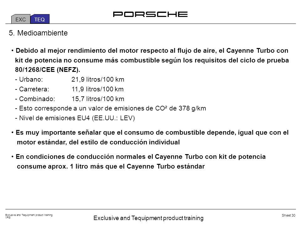 Exclusive and Tequipment product training VRS Sheet 30 Debido al mejor rendimiento del motor respecto al flujo de aire, el Cayenne Turbo con kit de potencia no consume más combustible según los requisitos del ciclo de prueba 80/1268/CEE (NEFZ).