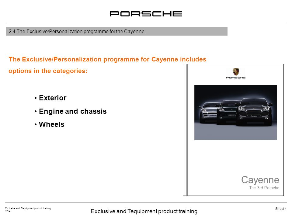 Exclusive and Tequipment product training VRS Sheet 4 Exterior Engine and chassis Wheels Cayenne The 3rd Porsche The Exclusive/Personalization program