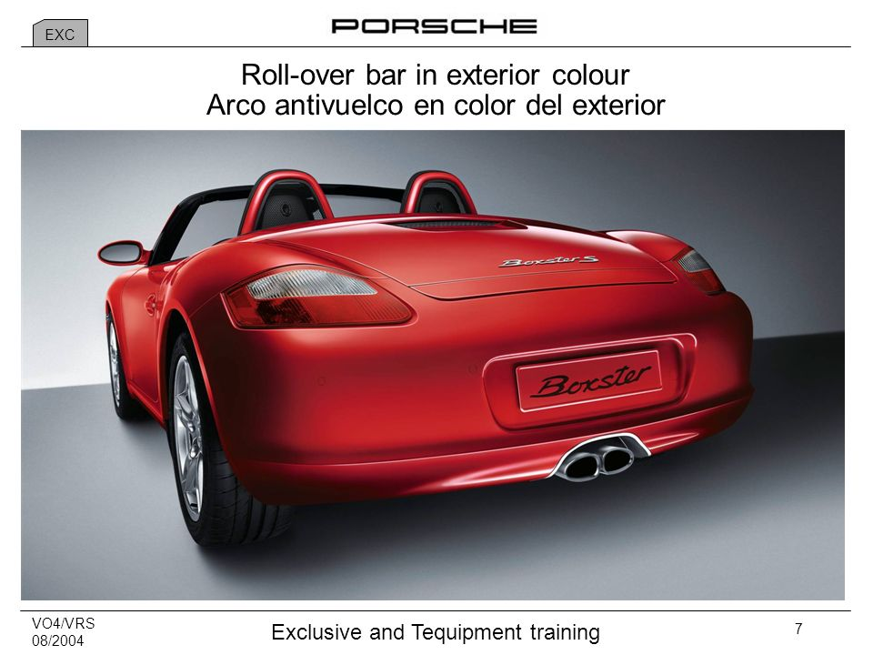 VO4/VRS 08/2004 Exclusive and Tequipment training 7 Roll-over bar in exterior colour Arco antivuelco en color del exterior EXC
