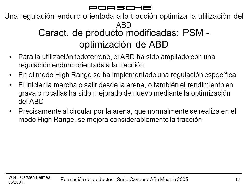 VO4 - Carsten Balmes 06/2004 Formación de productos - Serie Cayenne Año Modelo 2005 12 Caract. de producto modificadas: PSM - optimización de ABD Para