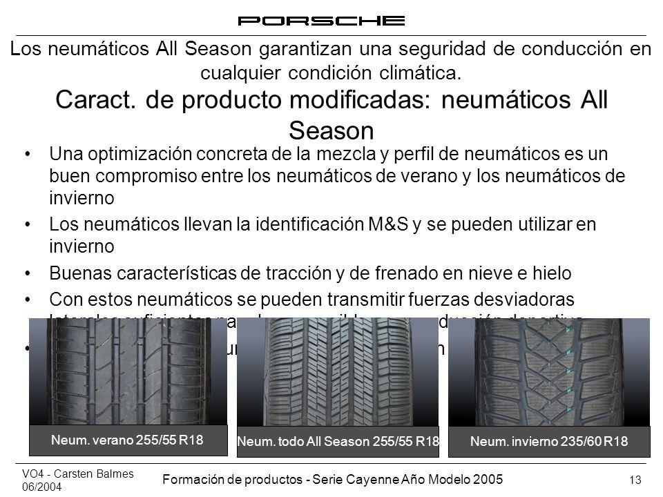 VO4 - Carsten Balmes 06/2004 Formación de productos - Serie Cayenne Año Modelo 2005 13 Caract. de producto modificadas: neumáticos All Season Una opti
