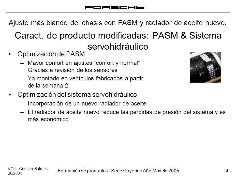 VO4 - Carsten Balmes 06/2004 Formación de productos - Serie Cayenne Año Modelo 2005 14 Caract. de producto modificadas: PASM & Sistema servohidráulico