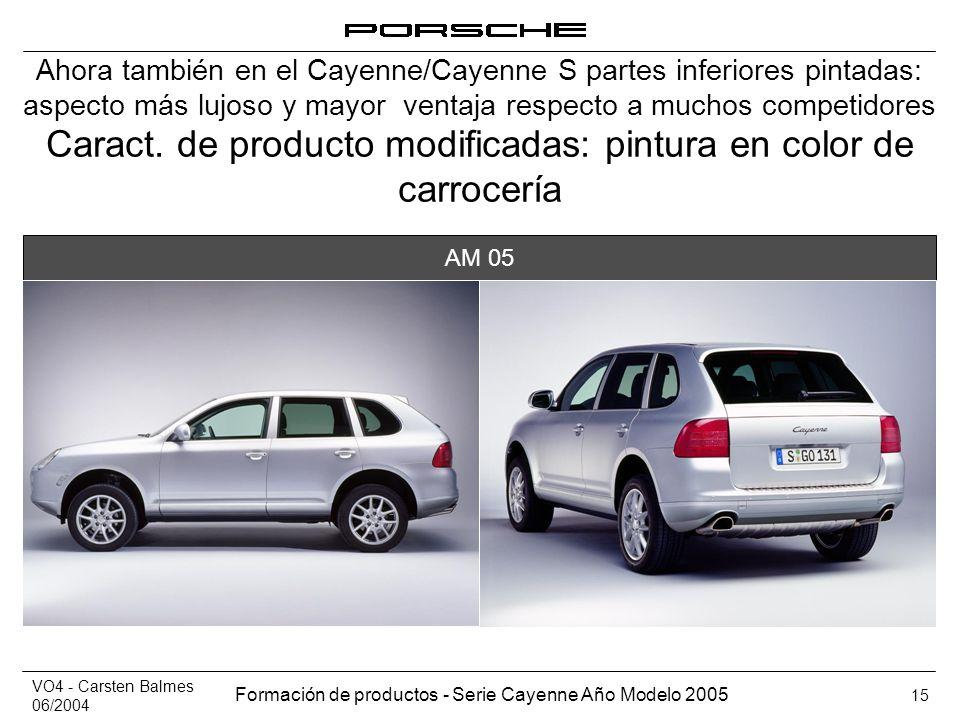 VO4 - Carsten Balmes 06/2004 Formación de productos - Serie Cayenne Año Modelo 2005 15 Caract. de producto modificadas: pintura en color de carrocería