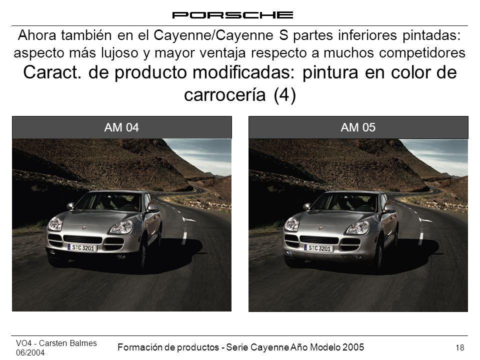 VO4 - Carsten Balmes 06/2004 Formación de productos - Serie Cayenne Año Modelo 2005 18 Caract. de producto modificadas: pintura en color de carrocería