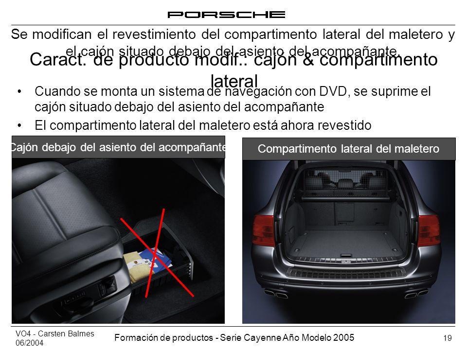 VO4 - Carsten Balmes 06/2004 Formación de productos - Serie Cayenne Año Modelo 2005 19 Caract. de producto modif.: cajón & compartimento lateral Cuand
