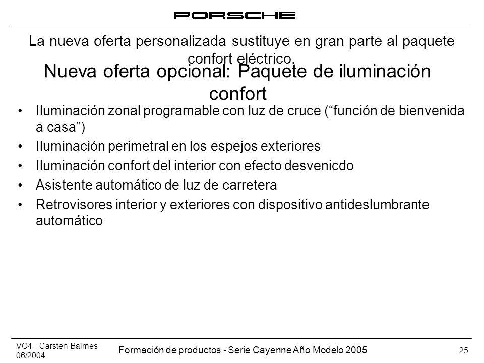 VO4 - Carsten Balmes 06/2004 Formación de productos - Serie Cayenne Año Modelo 2005 25 Nueva oferta opcional: Paquete de iluminación confort Iluminaci