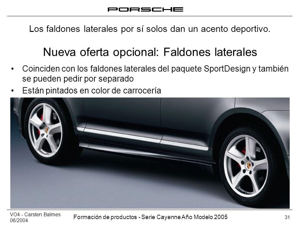 VO4 - Carsten Balmes 06/2004 Formación de productos - Serie Cayenne Año Modelo 2005 31 Nueva oferta opcional: Faldones laterales Coinciden con los fal
