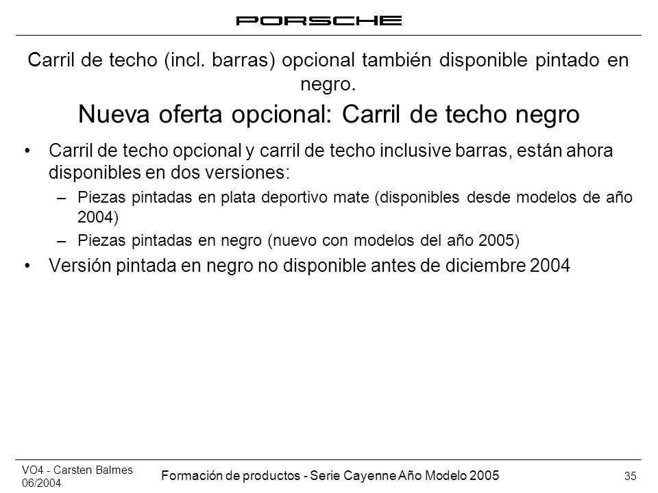 VO4 - Carsten Balmes 06/2004 Formación de productos - Serie Cayenne Año Modelo 2005 35 Nueva oferta opcional: Carril de techo negro Carril de techo op