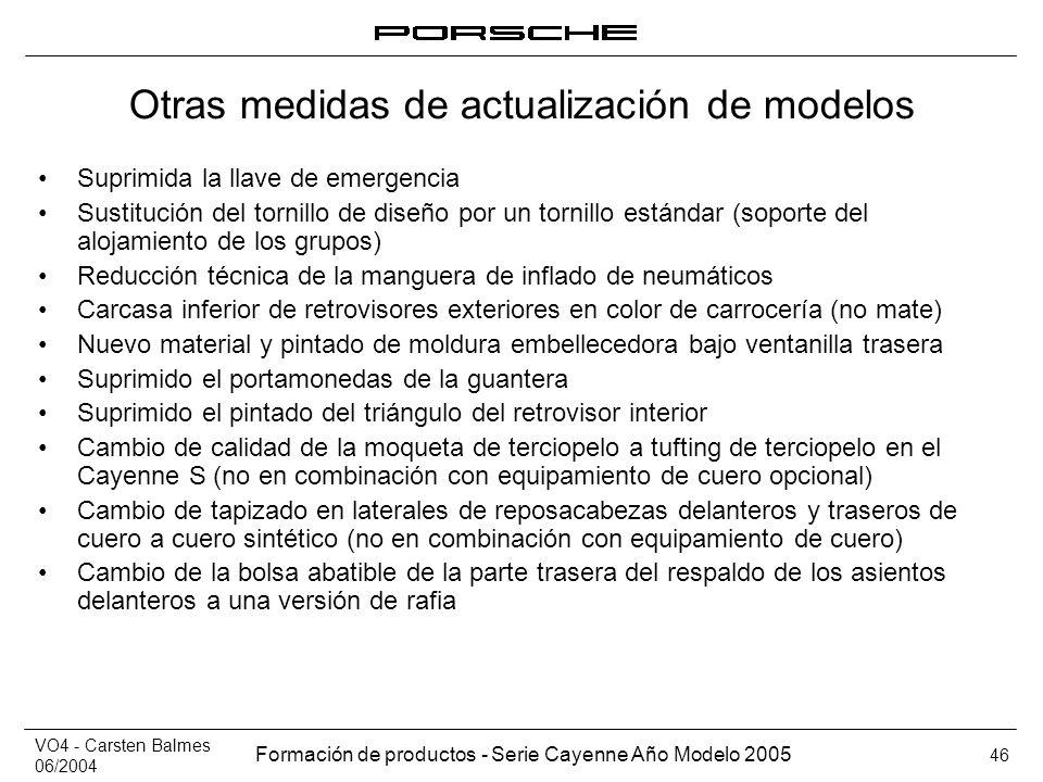 VO4 - Carsten Balmes 06/2004 Formación de productos - Serie Cayenne Año Modelo 2005 46 Otras medidas de actualización de modelos Suprimida la llave de