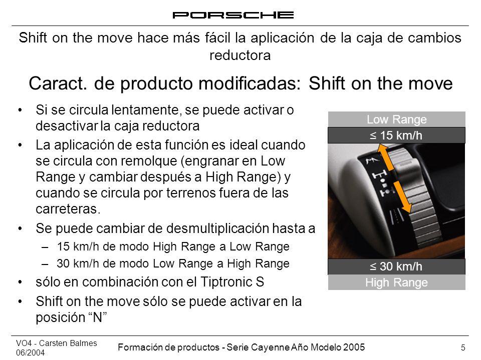VO4 - Carsten Balmes 06/2004 Formación de productos - Serie Cayenne Año Modelo 2005 5 Caract. de producto modificadas: Shift on the move Si se circula