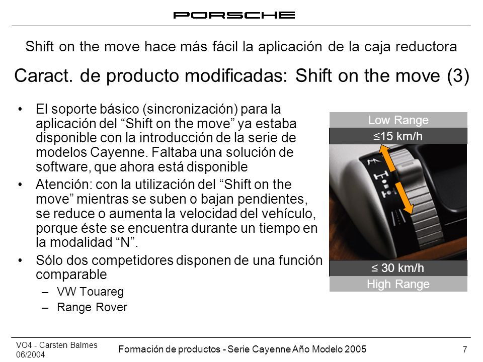 VO4 - Carsten Balmes 06/2004 Formación de productos - Serie Cayenne Año Modelo 2005 7 Caract. de producto modificadas: Shift on the move (3) El soport