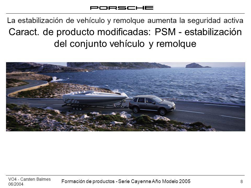 VO4 - Carsten Balmes 06/2004 Formación de productos - Serie Cayenne Año Modelo 2005 8 Caract. de producto modificadas: PSM - estabilización del conjun