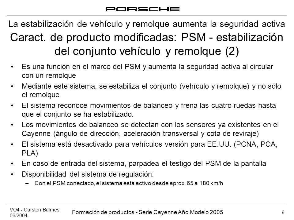 VO4 - Carsten Balmes 06/2004 Formación de productos - Serie Cayenne Año Modelo 2005 9 Caract. de producto modificadas: PSM - estabilización del conjun