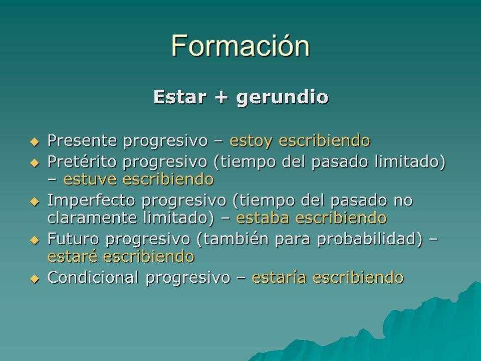 Formación Estar + gerundio Presente progresivo – estoy escribiendo Presente progresivo – estoy escribiendo Pretérito progresivo (tiempo del pasado lim