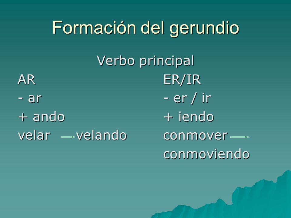 Formación del gerundio Verbo principal ARER/IR - ar- er / ir + ando+ iendo velar velandoconmover conmoviendo